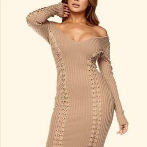 Nude lase sweater dresses